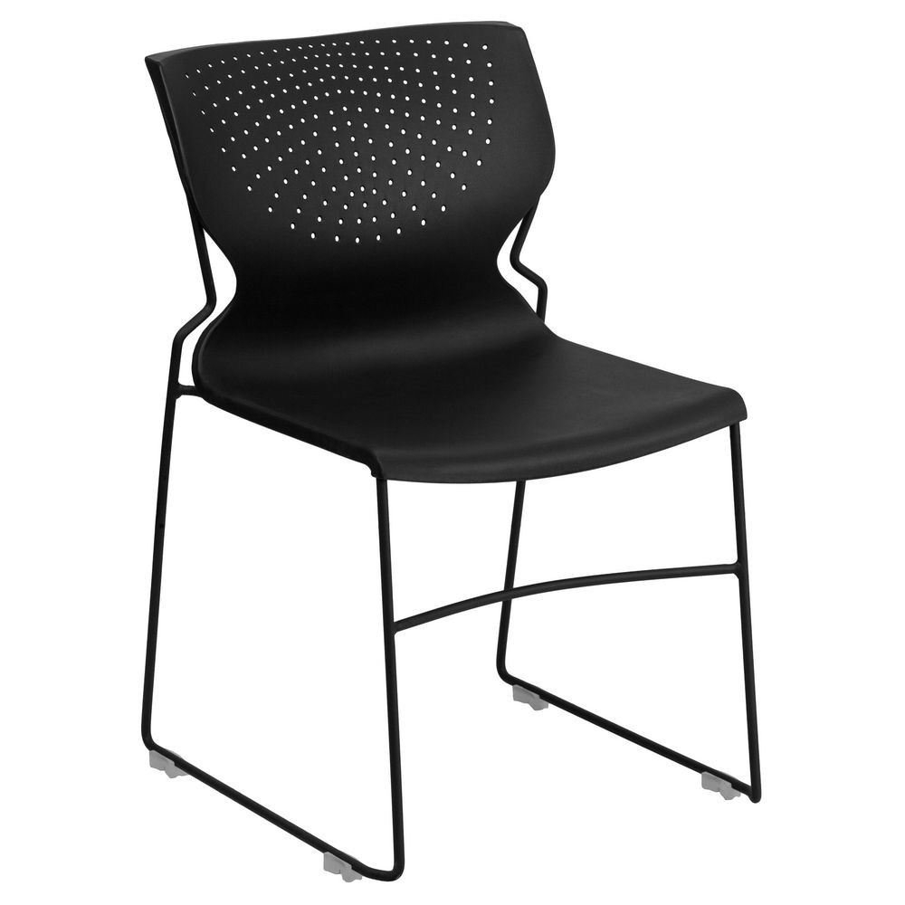 Flash Furniture RUT-438-BK-GG HERCULES Series 661 Lb. Capacity Black Full Back Stack Chair with Black Frame