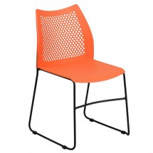 Flash Furniture RUT-498A-ORANGE-GG HERCULES Series 661 lb. Capacity Orange Sled Base Stack Chair with Air-Vent Back
