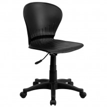 Flash Furniture RUT-A103-BK-GG Mid-Back Black Plastic Swivel Task Chair