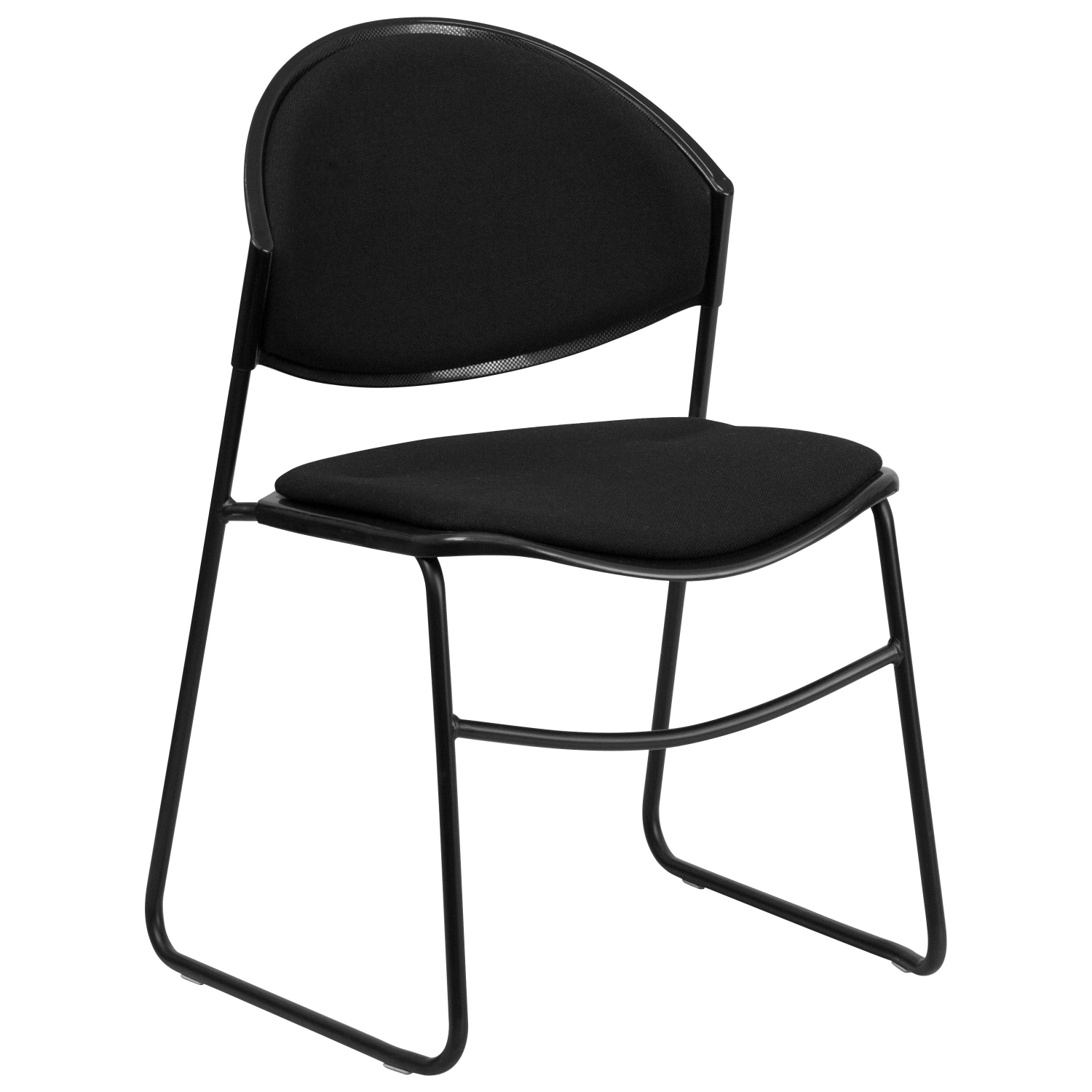 Flash Furniture RUT-CA02-01-BK-PAD-GG HERCULES Series 550 lb. Capacity Black Padded Stack Chair with Black Powder Coated Frame Finish
