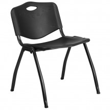 Flash Furniture RUT-D01-BK-GG HERCULES Series 880 lb. Capacity Black Polypropylene Stack Chair
