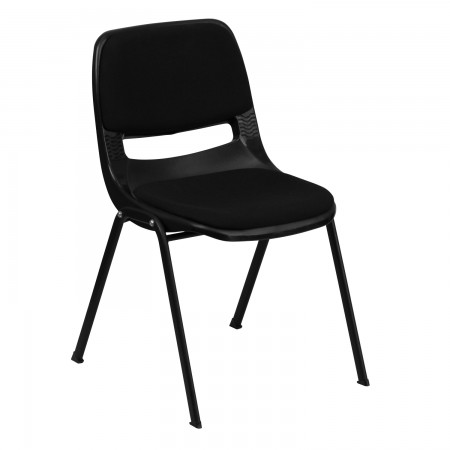 Flash Furniture RUT-EO1-01-PAD-GG HERCULES Series 880 lb. Capacity Black Ergonomic Shell Stack Chair with Padded Seat and Back