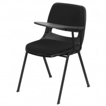 Flash Furniture RUT-EO1-01-PAD-LTAB-GG Padded Black Ergonomic Shell Chair with Left Handed Flip-Up Tablet Arm