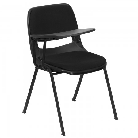 Flash Furniture RUT-EO1-01-PAD-RTAB-GG Padded Black Ergonomic Shell Chair with Right Handed Flip-Up Tablet Arm