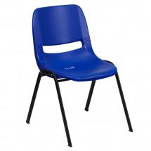 Flash Furniture RUT-EO1-BL-GG HERCULES Series 880 lb. Capacity Blue Ergonomic Shell Stack Chair