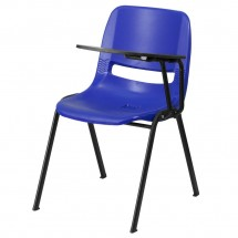 Flash Furniture RUT-EO1-BL-LTAB-GG Blue Ergonomic Shell Chair with Left Handed Flip-Up Tablet Arm