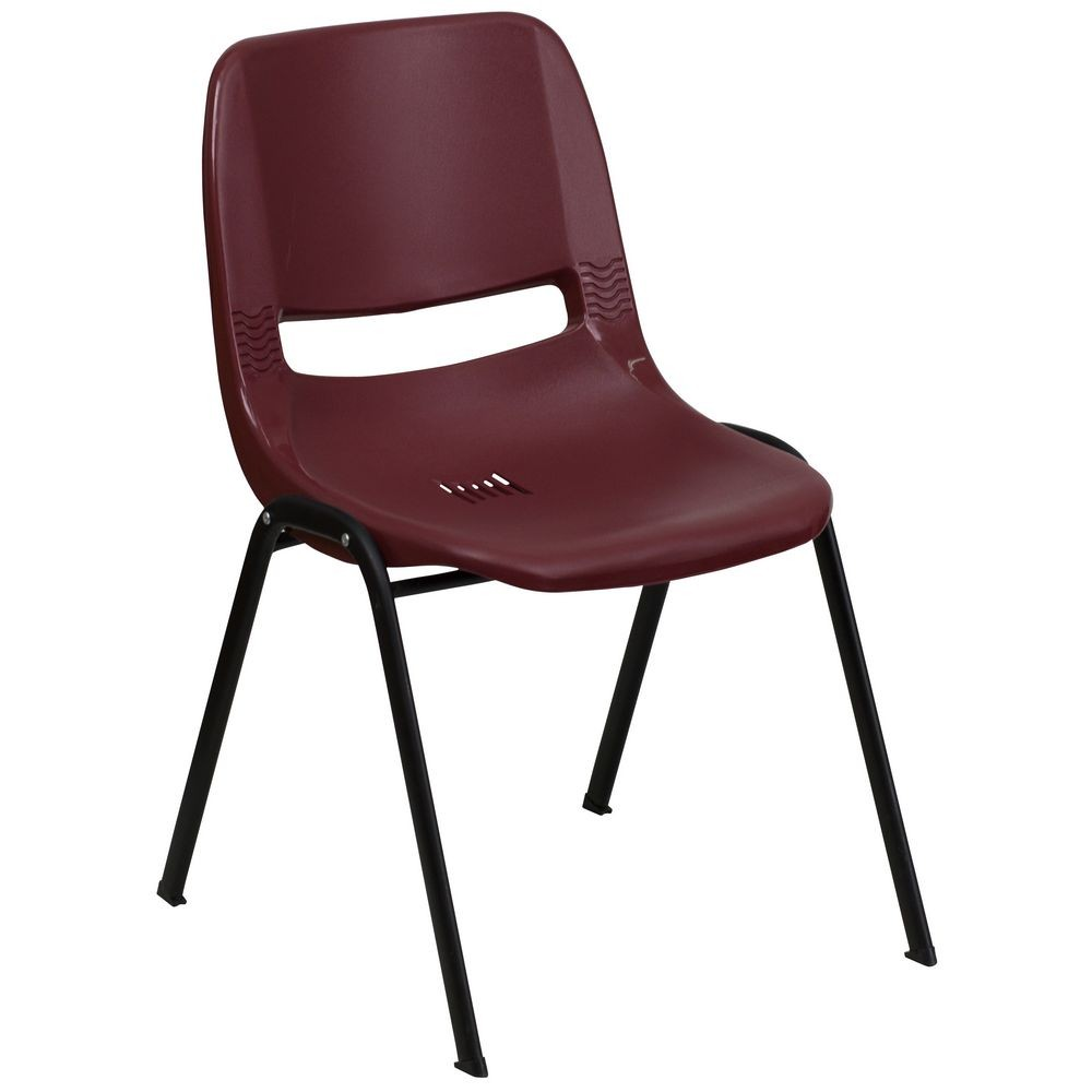 Flash Furniture RUT-EO1-BY-GG HERCULES Series 880 lb. Capacity Ergonomic Shell Stack Chair, Burgundy
