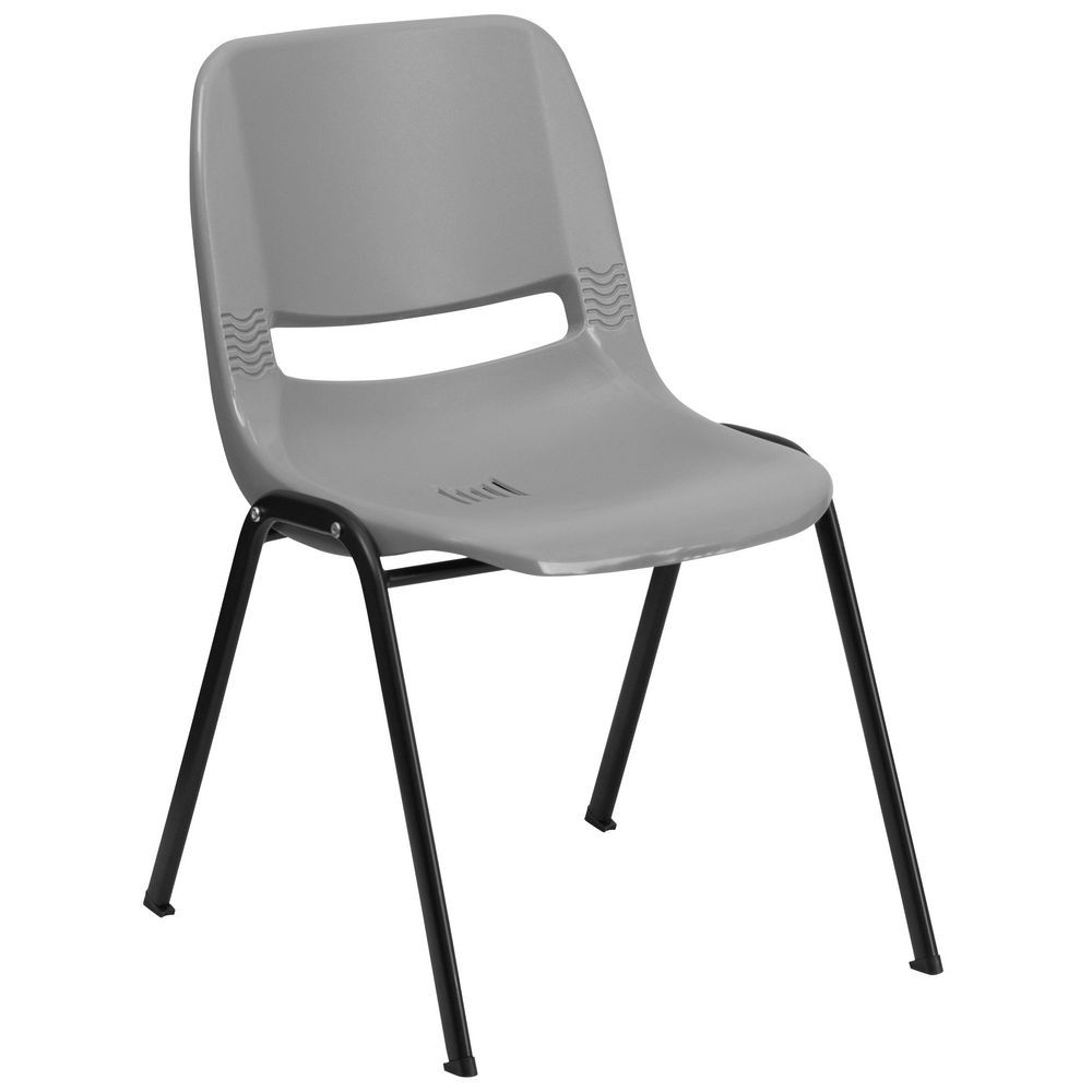 Flash Furniture RUT-EO1-GY-GG HERCULES Series 880 lb. Capacity Gray Ergonomic Shell Stack Chair