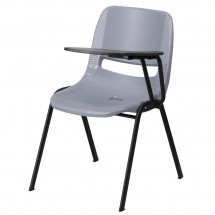 Flash Furniture RUT-EO1-GY-LTAB-GG Gray Ergonomic Shell Chair with Left Handed Flip-Up Tablet Arm