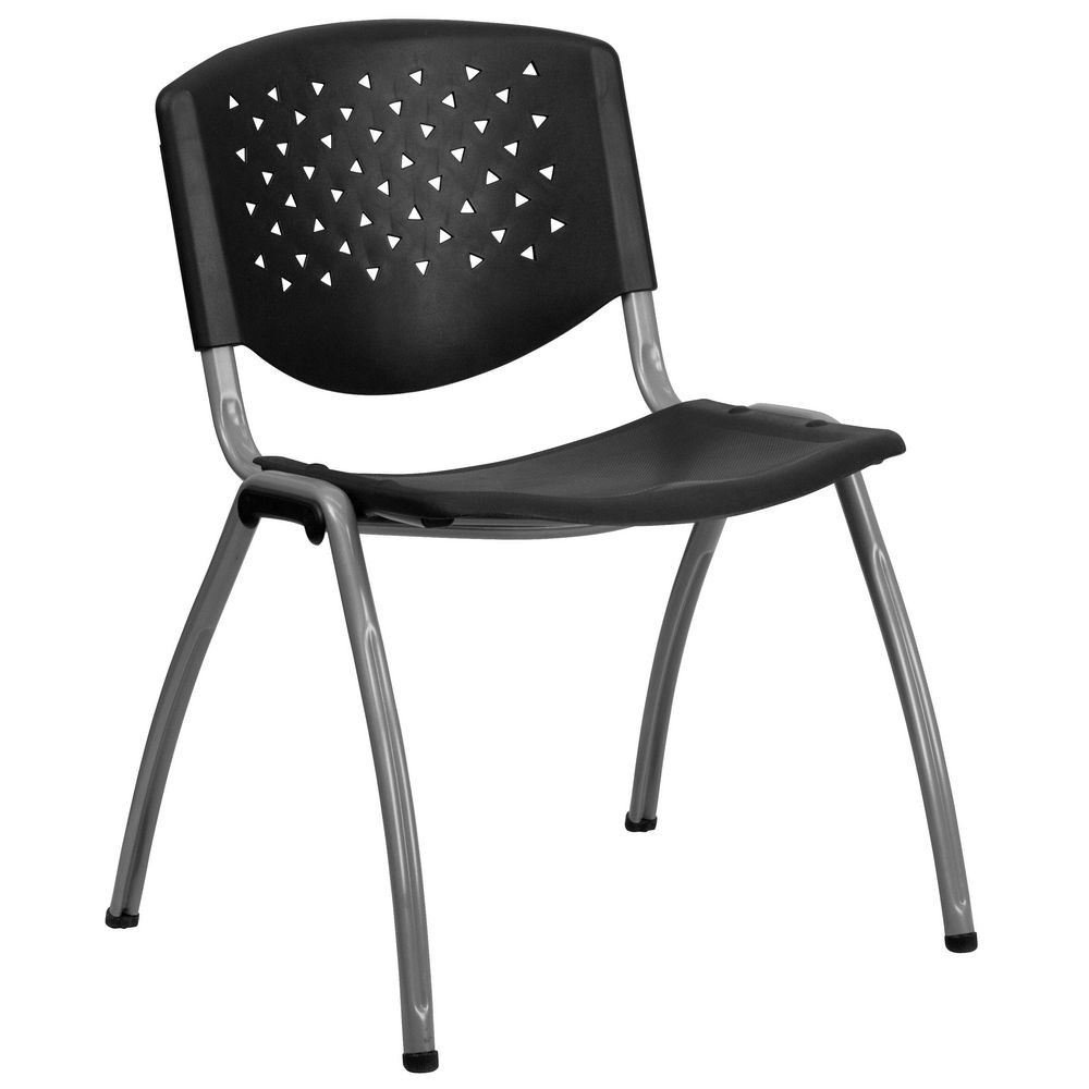 Flash Furniture RUT-F01A-BK-GG HERCULES Series 880 lb. Capacity Black Polypropylene Stack Chair with Titanium Frame Finish