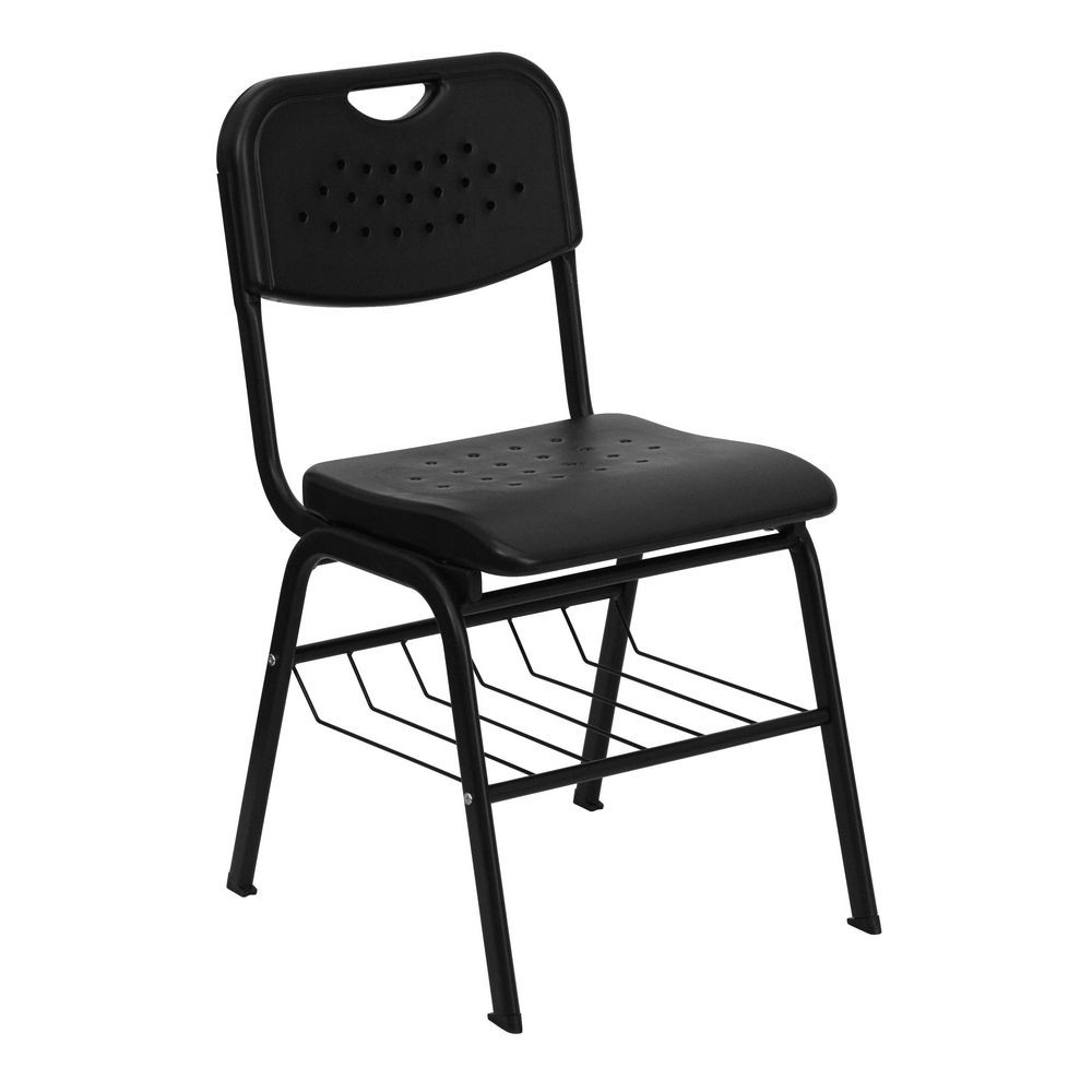 Flash Furniture RUT-GK01-BK-BAS-GG HERCULES Series 880 lb. Capacity Black Plastic Chair with Black Powder Coated Frame and Book Basket