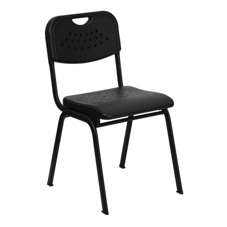 Flash Furniture RUT-GK01-BK-GG HERCULES Series 880 lb. Capacity Black Plastic Stack Chair with Black Powder Coated Frame