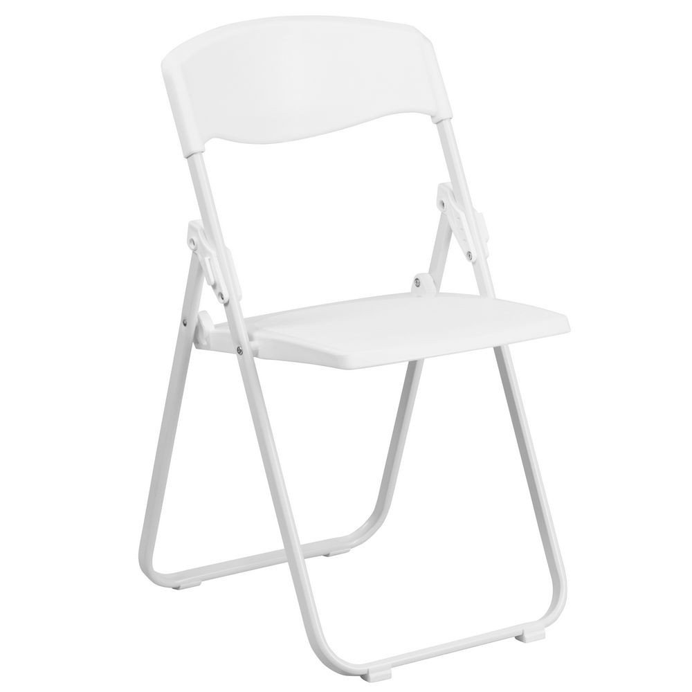 Flash Furniture RUT-I-WHITE-GG HERCULES Series 880 lb. Capacity Heavy Duty White Plastic Folding Chair