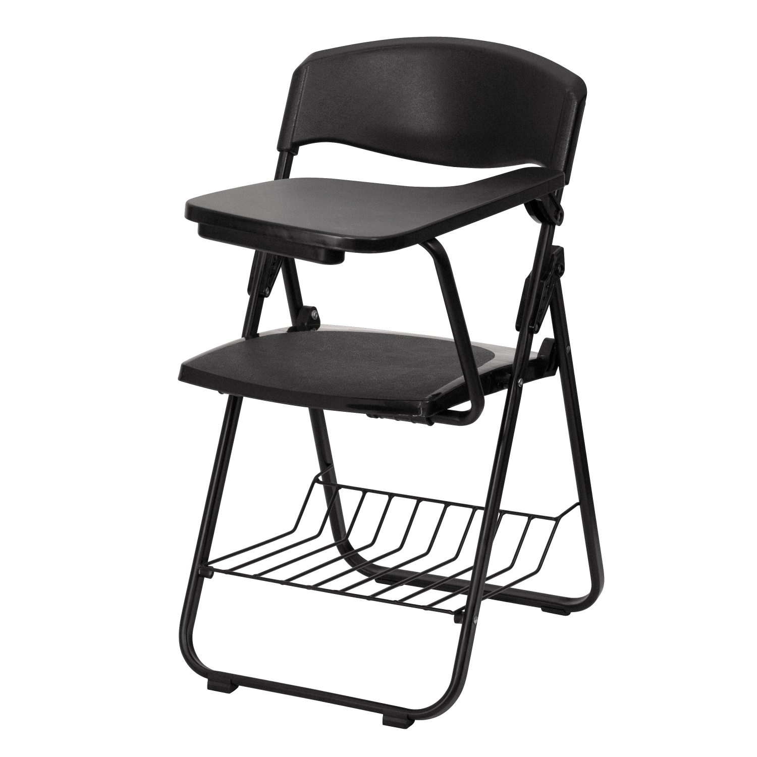 Flash Furniture RUT-L03-TAB-LFT-GG Black Plastic Chair with Left Handed Tablet Arm and Book Basket