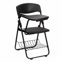 Flash Furniture RUT-L03-TAB-RT-GG Black Plastic Chair with Right Handed Tablet Arm and Book Basket