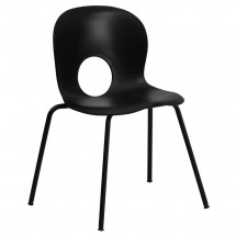 Flash Furniture RUT-NC258-BK-GG HERCULES Series 400 lb. Capacity Designer Black Plastic Stack Chair with Black Powder Coated Frame Finish