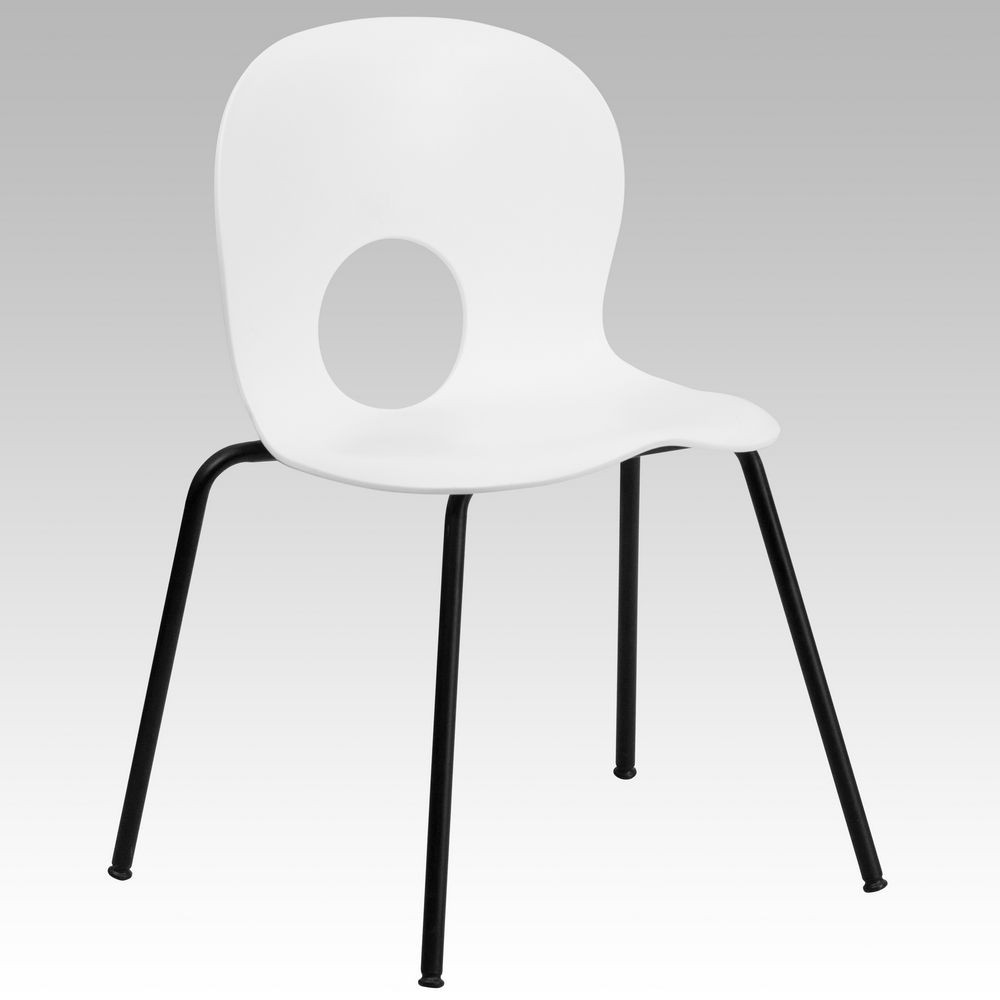 Flash Furniture RUT-NC258-WHITE-GG HERCULES Series 770 lb. Capacity Designer White Plastic Stack Chair with Black Powder Coated Frame Finish