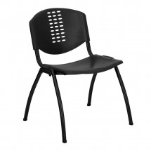 Flash Furniture RUT-NF01A-BK-GG HERCULES Series 880 lb. Capacity Black Polypropylene Stack Chair with Black Frame Finish