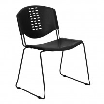 Flash Furniture RUT-NF02-BK-GG HERCULES Series 400 lb. Capacity Black Plastic Stack Chair with Black Powder Coated Frame Finish