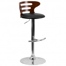 Flash Furniture SD-2019-WAL-GG Walnut Bentwood Adjustable Height Bar Stool with Black Vinyl Seat and Cutout Back