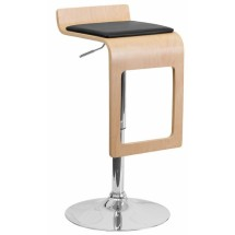 Flash Furniture SD-2075-1-BEECH-GG Beech Bentwood Adjustable Height Bar Stool with Black Vinyl Seat and Drop Frame