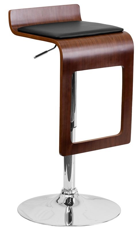 Flash Furniture SD-2075-1-WAL-GG Walnut Bentwood Adjustable Height Bar Stool with Black Vinyl Seat and Drop Frame