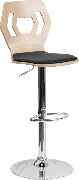 Flash Furniture SD-2162-BEECH-GG Beech Bentwood Adjustable Height Bar Stool with Black Vinyl Seat and Cutout Back