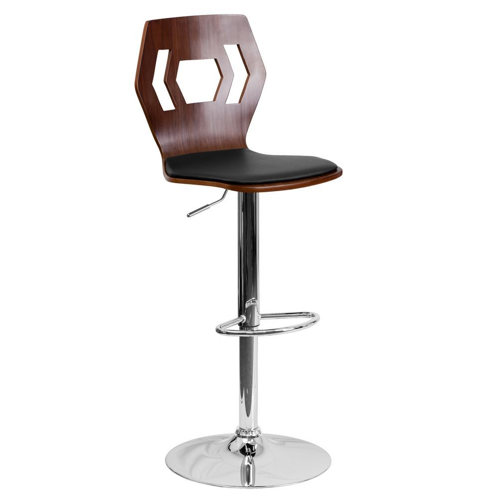 Flash Furniture SD-2162-WAL-GG Walnut Bentwood Adjustable Height Bar Stool with Black Vinyl Seat and Cutout Back