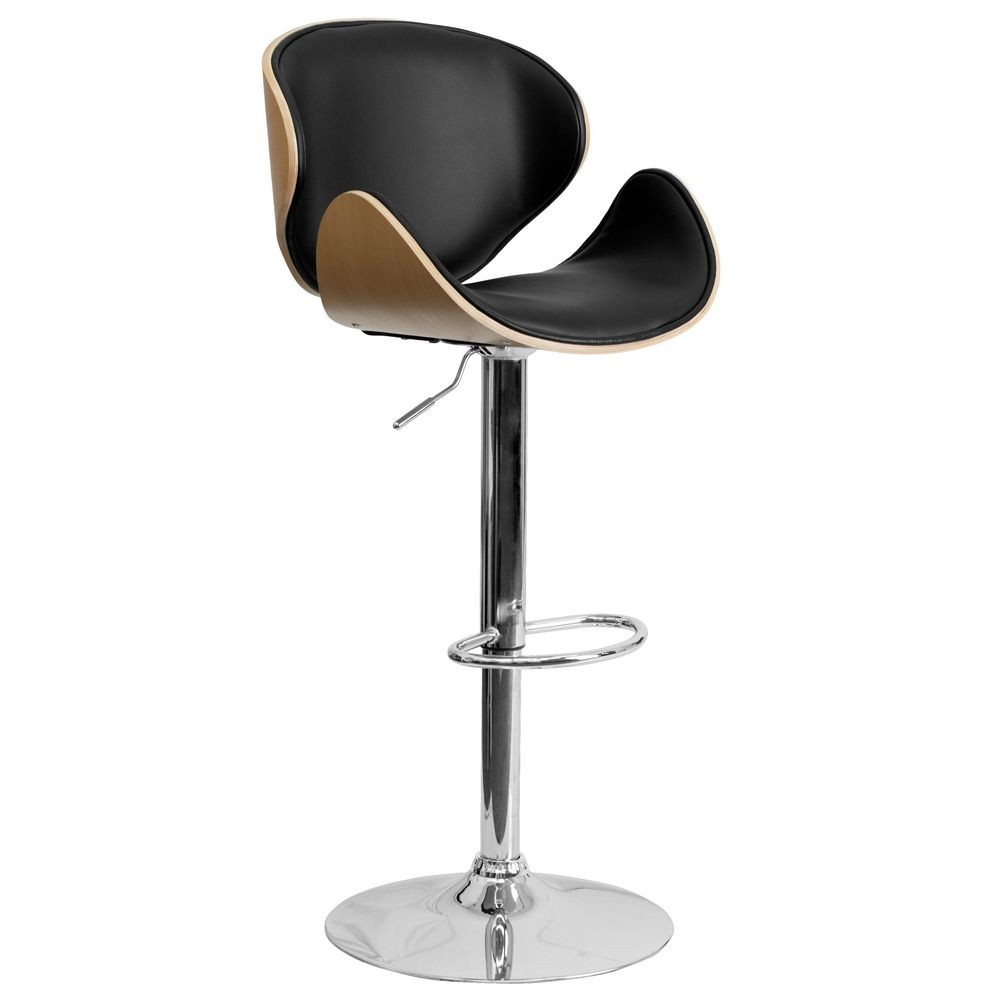 Flash Furniture SD-2203-BEECH-GG Beech Bentwood Adjustable Height Bar Stool with Curved Black Vinyl Seat and Back