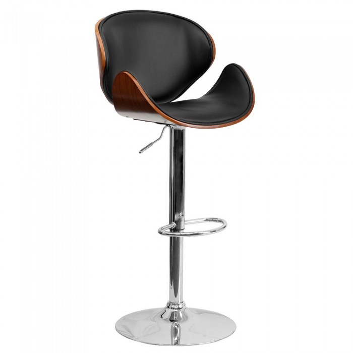 Flash Furniture SD-2203-WAL-GG Walnut Bentwood Adjustable Height Bar Stool with Curved Black Vinyl Seat and Back