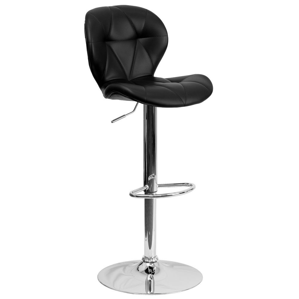 Flash Furniture SD-2208-BK-GG Contemporary Tufted Black Vinyl Adjustable Height Bar Stool with Chrome Base