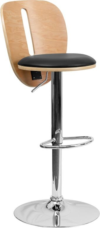 Flash Furniture SD-2220-BEECH-GG Beech Bentwood Adjustable Height Bar Stool with Black Vinyl Seat and Cutout Back