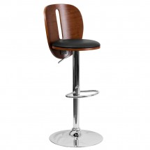 Flash Furniture SD-2220-WAL-GG Walnut Bentwood Adjustable Height Bar Stool with Black Vinyl Seat and Cutout Back