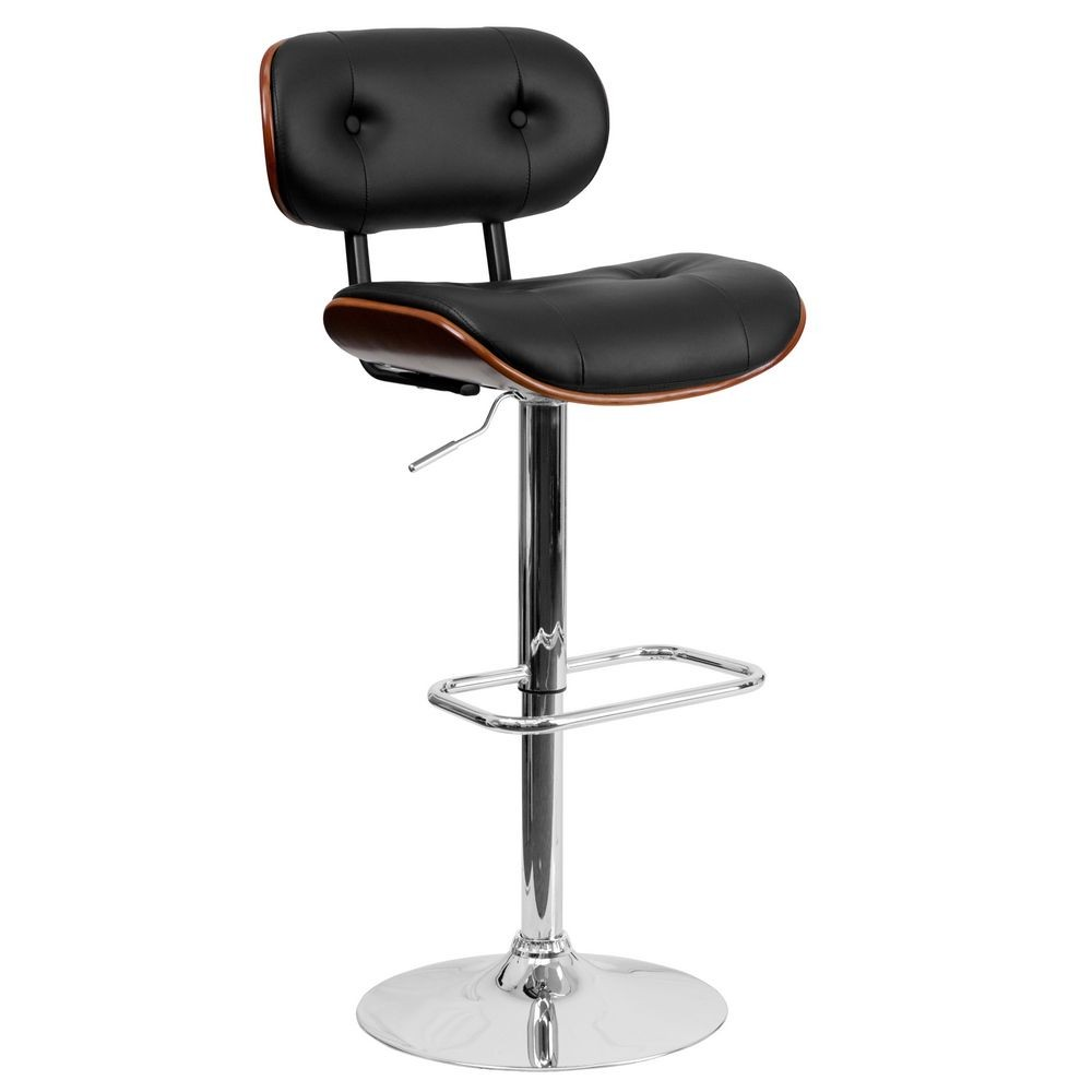 Flash Furniture SD-2228-WAL-GG Walnut Bentwood Adjustable Height Bar Stool with Button Tufted Black Vinyl Upholstery