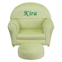 Flash Furniture SF-03-OTTO-MIC-GRN-GG Kids Green Microfiber Rocker Chair and Footrest