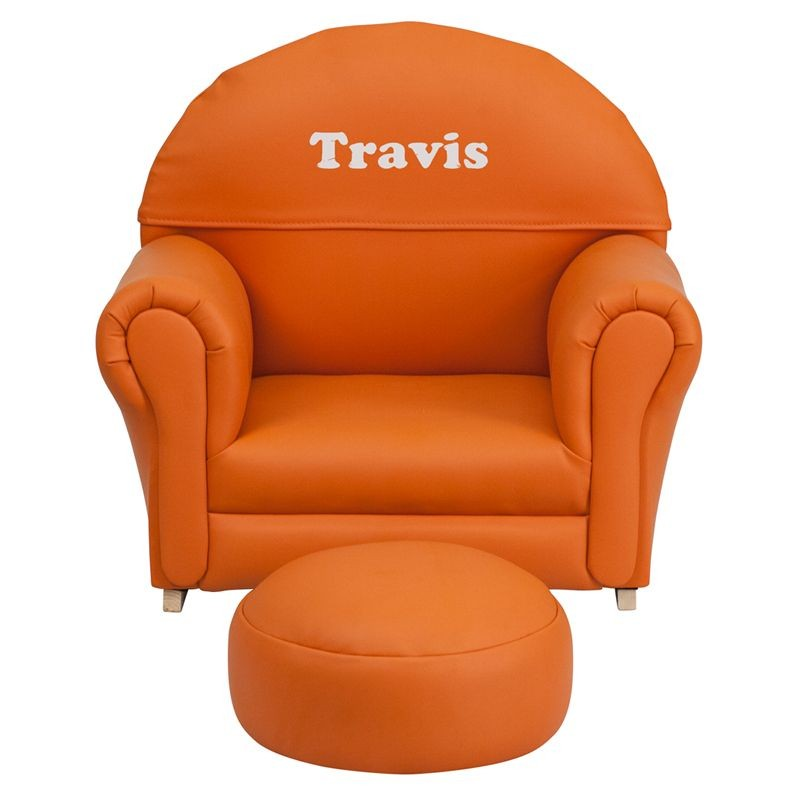 Flash Furniture SF-03-OTTO-OR-GG Kids Orange Vinyl Rocker Chair and Footrest