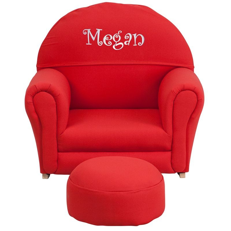 Flash Furniture SF-03-OTTO-RED-GG Kids Red Fabric Rocker Chair and Footrest
