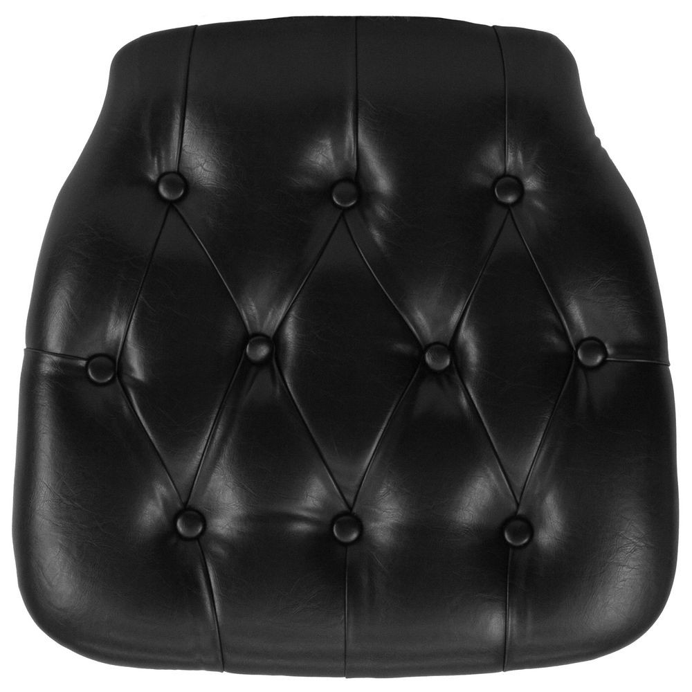 Flash Furniture SZ-TUFT-BLACK-GG Black Hard Tufted Vinyl Chiavari Chair Cushion