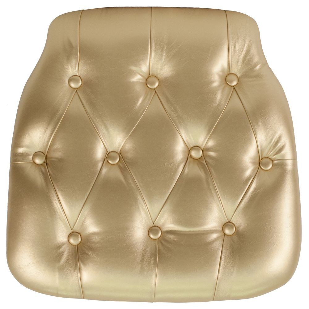 Flash Furniture SZ-TUFT-GOLD-GG Gold Hard Tufted Vinyl Chiavari Chair Cushion