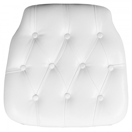 Flash Furniture SZ-TUFT-WHITE-GG White Hard Tufted Vinyl Chiavari Chair Cushion