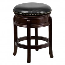 Flash Furniture TA-68824-CA-CTR-GG Backless Cappuccino Wood Counter Height Stool with Black Leather Swivel Seat 24""