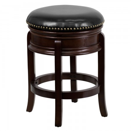 """Flash Furniture TA-68824-CA-CTR-GG Backless Cappuccino Wood Counter Height Stool with Black Leather Swivel Seat 24"""""""