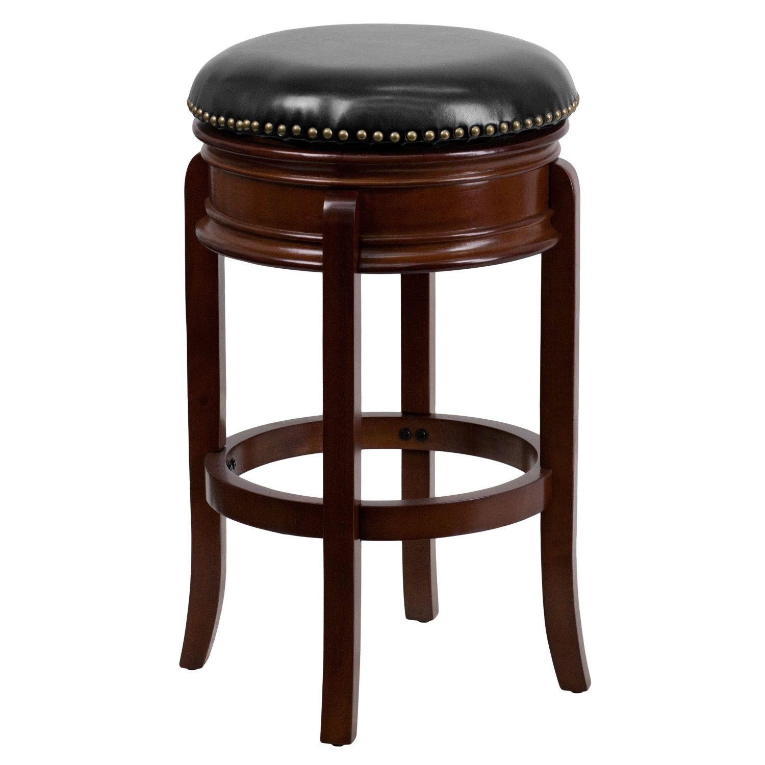 Flash Furniture TA-68829-CHY-GG Backless Cherry Wood Bar Stool with Black Leather Swivel Seat 29""