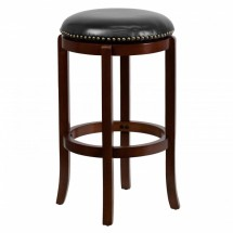 Flash Furniture TA-68929-CHY-GG Backless Cherry Wood Bar Stool with Black Leather Swivel Seat 29""