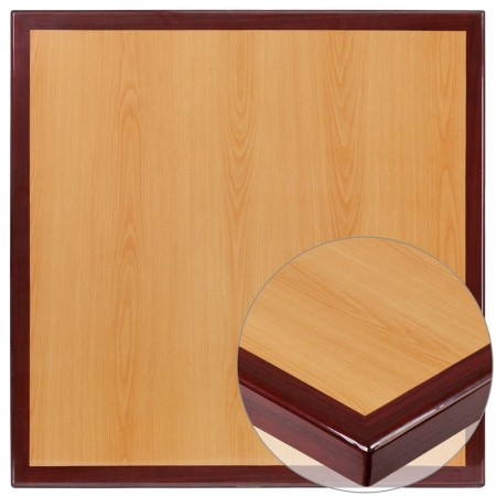 Flash Furniture TP-2TONE-2424-GG 24'' Square 2-Tone High-Gloss Cherry / Mahogany Resin Table Top with 2'' Thick Drop-Lip