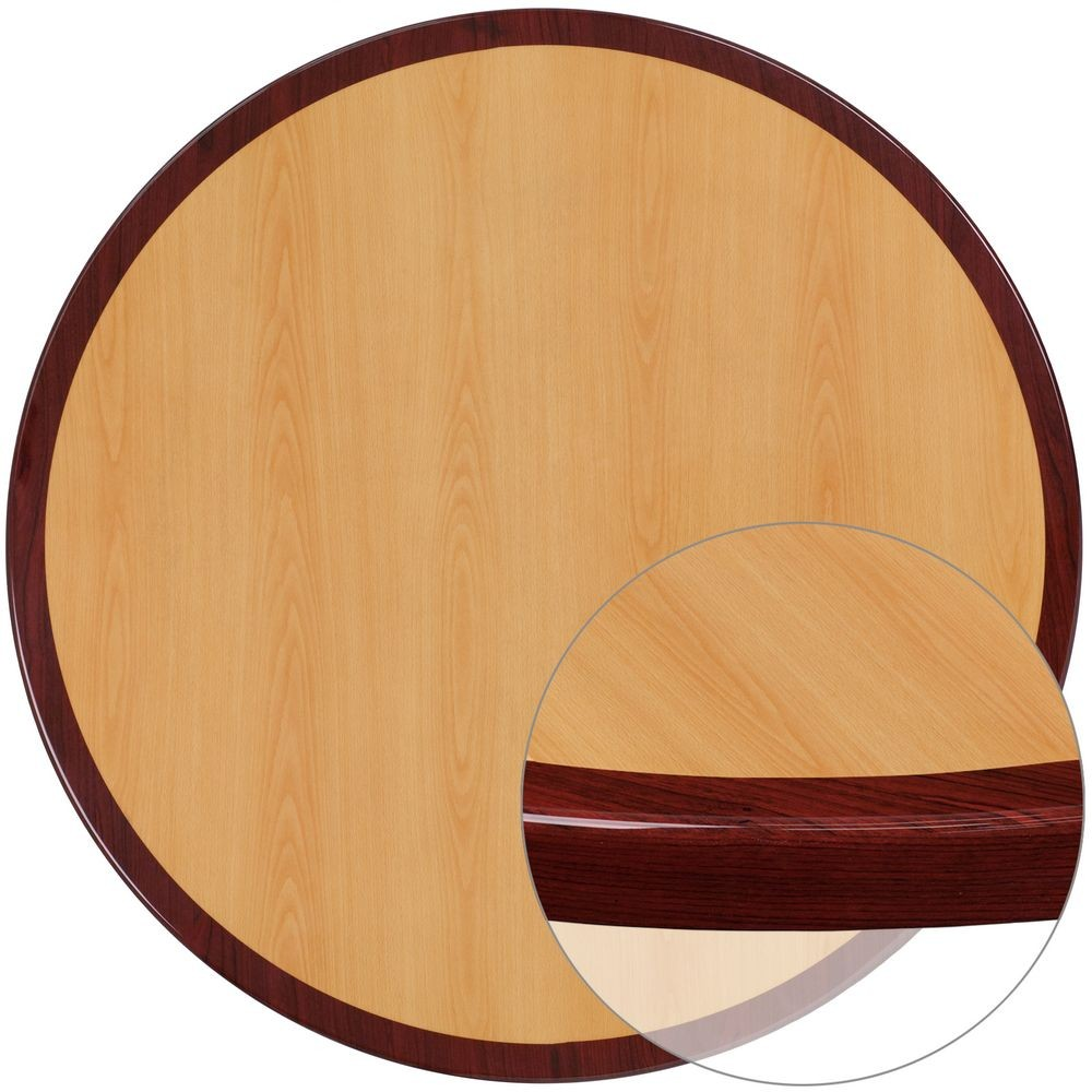 Flash Furniture TP-2TONE-48RD-GG Round Two-Tone Resin Cherry and Mahogany Table Top, 48''