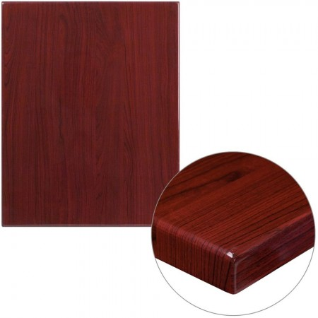 "Flash Furniture TP-MAH-2430-GG 24"" x 30"" Rectangular High-Gloss Mahogany Resin Table Top with 2"" Thick Edge"