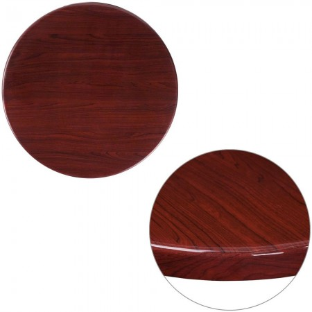 "Flash Furniture TP-MAH-24RD-GG 24"" Round High-Gloss Mahogany Resin Table Top with 2"" Thick Drop-Lip"