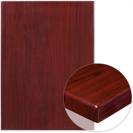 "Flash Furniture TP-MAH-3042-GG TP-MAH-3042-GG 30"" x 42"" Rectangular High-Gloss Mahogany Resin Table Top with 2"" Thick Edge"