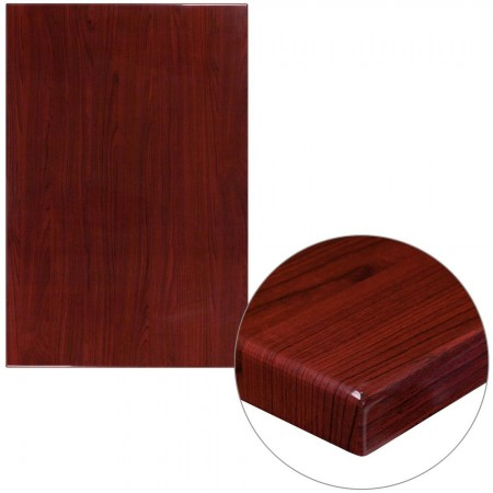 "Flash Furniture TP-MAH-3045-GG 30"" x 45"" Rectangular High-Gloss Mahogany Resin Table Top with 2"" Thick Edge"